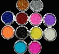 12pcs scintillio di colori in polvere decorazione nail art