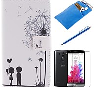 Couples Dandelion Pattern PU Leather Full Body Case with Stylus、Protective Film and Soft Pouch for LG G3