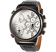 Men's Big Round Dial Three Time Zones PU Band Quartz Sport Watch (Assorted Colors)