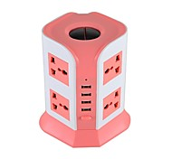 Overload Protector 5V/2.1A 2 Floor US Adapter Power Strips with 8 Universal Outlets and 4 USB