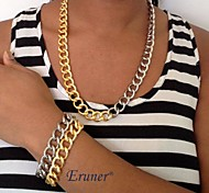 Eruner® Shiny Light Gold Chunky Aluminium Curb Chain Necklace
