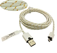 3M 10ft Fabric Braided Woven Micro USB Charging Cable Data Sync Cord for Samsung HTC Sony Phones (White)