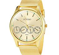 Men's Round Dial Gold Alloy Band Quartz Wrist Watch