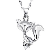 925 Sterling Silver Zircon Fox Necklace With Water Wave Necklace