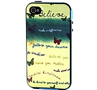 2-in-1 Believe Your Dream Phrase Pattern TPU Back Cover with PC Bumper Shockproof Soft Case for Apple iPhone 4/4S