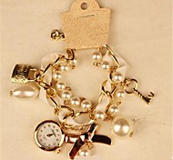 Women's Round Metal Chain Fashion Grand Pearl Bracelet Japanese Quartz  Watch (Assorted Colors)