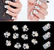 10pcs 3D Rose Flower White Pearl Rhinestone DIY Accessories Nail Art Decoration