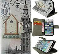 cubierta protectora cabañas y la cartera reloj estilo pu cuerpo completo con soporte y tarjeta de la ranura para el iphone 6