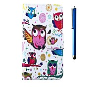 4.95 Inch Owl Pattern PU Wallet Leather Case and Pen for LG Nexus 5