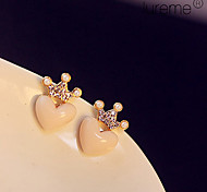 Lureme®Enamel Little Heart with Crown Stud Earrings