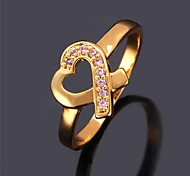 U7® New Zircon Midi Ring Breast Cancer Awareness Charity Label Pink Heart Ribbon Zirconia Ring for Women