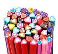 50pcs motif de coeur doux autocollant de tige de canne bâton 3d mixs ongles de couleur décoration d'art