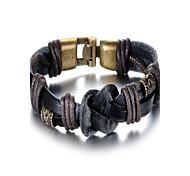 pulsera de cuero negro de la aleación de los hombres delicadeza de moda (1 unidad)