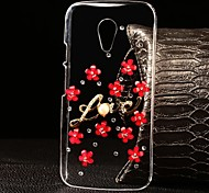 DIY Multi-color Flowers with Rhinestones Pattern Plastic Hard Cover for Motorola MOTO G2 (Assorted Color)