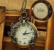 Personalized Gift Alloy Engraved Pocket Watch with 78cm Chain Necklace