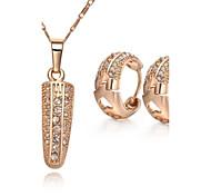 Z&X® Korean Style 18K Gold Plated Rhinestone Corn Pendant Necklace Earrings Jewelry Set (1 set)