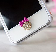 Rhinestone Bow Home Button Sticker for iphone(Assorted Color)