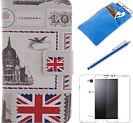British Style Design PU Leather Full Body Case with Stylus、Protective Film and Soft Pouch for LG L70