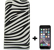Zebra Pattern Open Up and Down PU Leather Full Body Case Cover  with Screen Protector for iPhone 6
