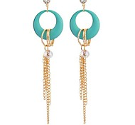 Blue Is Hollow-Out Bergamot Long Pearl Earrings