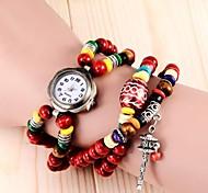 rétro ligne perles rondes montre bracelet pendentif de femmes