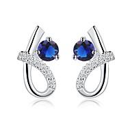 Silver-Plated Heart-Shaped Shape Cubic Zirconia Earrings