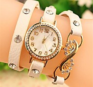 Women's Round Crystal flower Fashion Leather Japanese Quartz Watch (Assorted Colors)