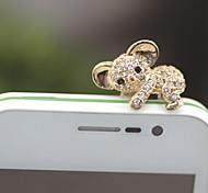 rhinestone encantador koala conector de 3,5 mm anti-polvo para el iphone / samsung (color clasificado)