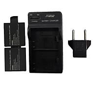 star ™ 900mAh Akku mit uns stecken DSTE Dual-Slot-Batterieladegerät mit EU Stecker für sj4000 Wi-Fi (2 Batterien + 1 Ladegerät)
