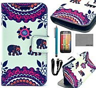 COCO FUN® Two Elephants Pattern PU Leather Full Body Case with Screen Protector ,cable and Stylus for Motorala Moto G