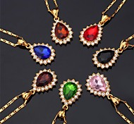 Women's Choker Necklaces Pendant Necklaces Imitation Diamond Gemstone Gem Rhinestone Gold Plated Simulated Diamond FashionRed Green Blue