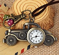 Unisex Vintage Classic Cars-Shaped Round Dial Leather&Alloy Quartz Necklace /Keychain Watch Green Patina (1Pc)