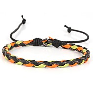 One Thin Braided Men's Leather Bracelet With Red Green Leather (1 Piece)