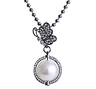 Fashion High-grade Butterfly Pearl Alloy Zircon Necklace