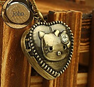 Personalized Gift Alloy Heart Shaped Engraved Pocket Watch with 78cm Chain Necklace