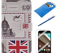 British Style Design PU Leather Full Body Case with Stylus、Protective Film and Soft Pouch for Google Nexus 6