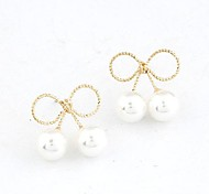 Fashion Sweet Bow Pearl Earrings