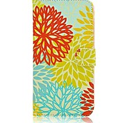 Painting Flowers Figure PU for Case with Stand Samsung Galaxy Note 4