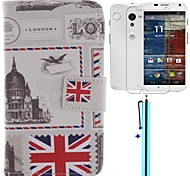 Vintage Postcard Design PU Leather Full Body Case with Screen Protector, Stylus and Stand for Motorola moto X