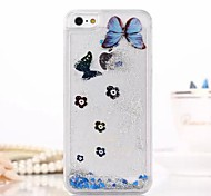 Fashion Transparent Glitter Sand Bling Quicksand Butterfly Pattern Case Cover for iPhone 5/5S(Assorted Colors)