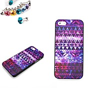 Art Stripe Pattern PC Back Cover Case With The Dustproof Plug for iPhone 5/5S
