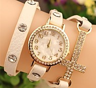 Women's Round  Fashion Crystal  Cross Leather Japanese Quartz Watch (Assorted Colors)
