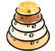 Classic Dog Paw Prints High-Grade Iron Paint Skid Dog Bowls Of Pet Food and Water for Pet Dogs and Cats(Random Color)