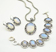 Toonykelly Vintage  Antique Silver Transparent Stone(Earring and Necklace and Bracelet) Jewelry Set