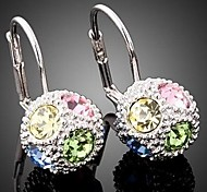Fashion Ball Colorful Crystal Ear Drop (1 pair)