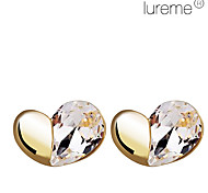 Lureme®Czech Rhinestone Asymmetric Heart Shape Earrings