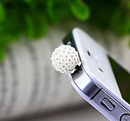 Spherical White Pearl 3.5mm Anti-dust Plug for iphone