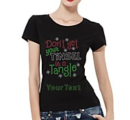 Personalized Rhinestone T-shirts Snowflake and Letters Pattern Women's Cotton Short Sleeves