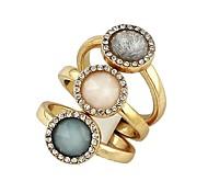 2014 New Simple Design Single Gemstone Three Finger Rings Set