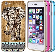 lacdo® elefante tampa traseira de alumínio caixa de metal pára-choques moldura armadura completa para proteger iphone 6 (cores sortidas)